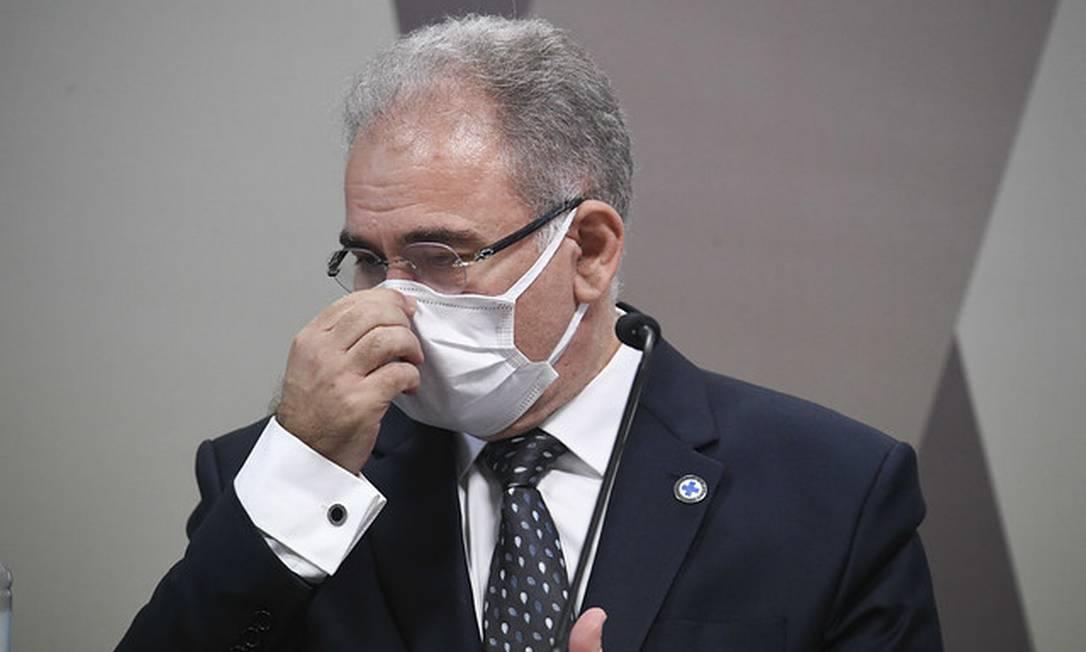A CPI da Covid ouve, pela segunda vez, o ministro da Saúde, Marcelo Queiroga Foto: Jefferson Rudy / Jefferson Rudy/Agência Senado