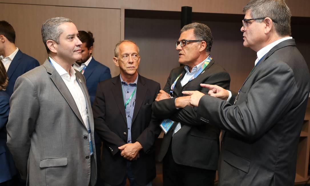 Rogério Cabloco, Walter Feldman, Fernando Sarney e José Astigarraga no Seminário das equipes da Copa América 2019 Foto: Lucas Figueiredo/CBF