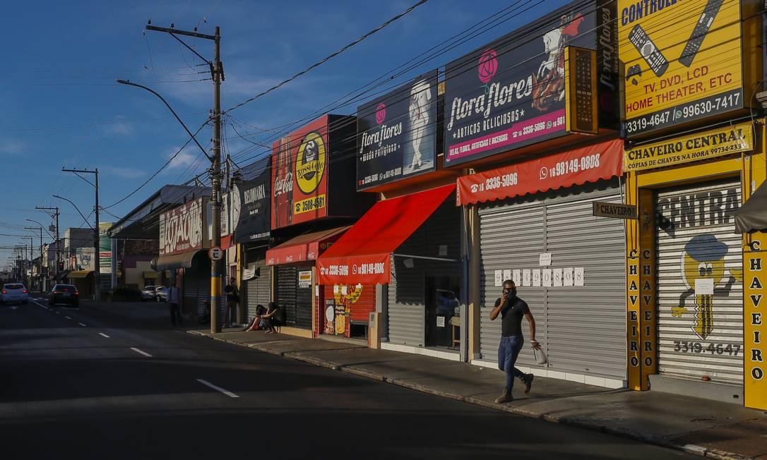 No fim de fevereiro, o município de Araraquara decretou lockdown e determinou o fechamento do comércio Foto: Edilson Dantas / Agência O Globo (12/03/2021)