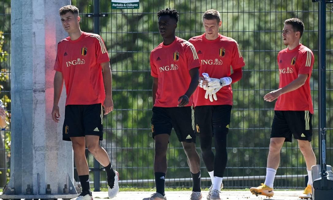 Equipe da Bélgica treina para a Eurocopa Foto: DIRK WAEM / AFP