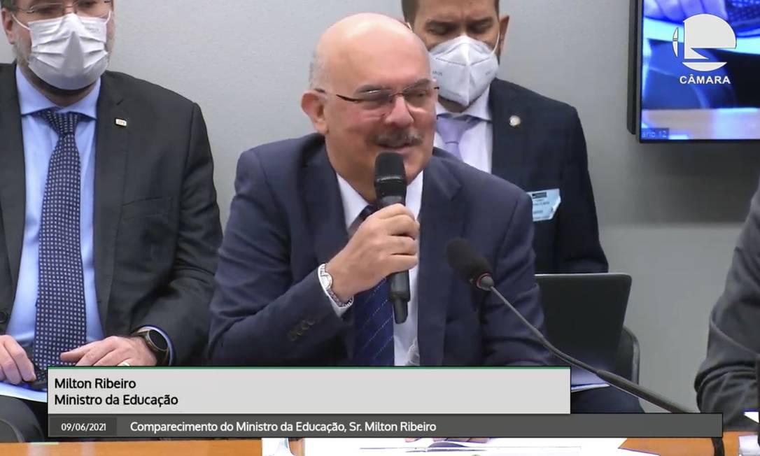 O ministro da Educação, Milton Ribeiro, em audiência na Comissão de Educação da Câmara Foto: Reprodução