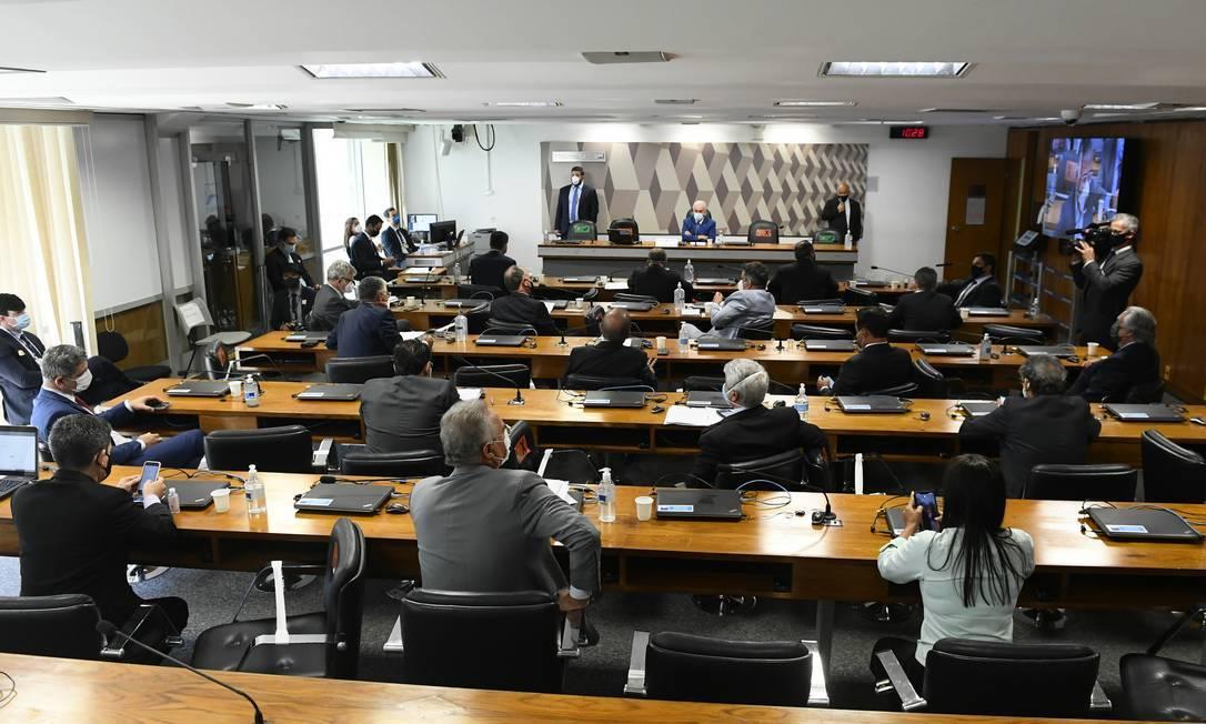 Sessão da CPI da Covid, no Senado Federal, aprova convocação de auditor do TCU afastado Foto: Jefferson Rudy / Agência O Globo