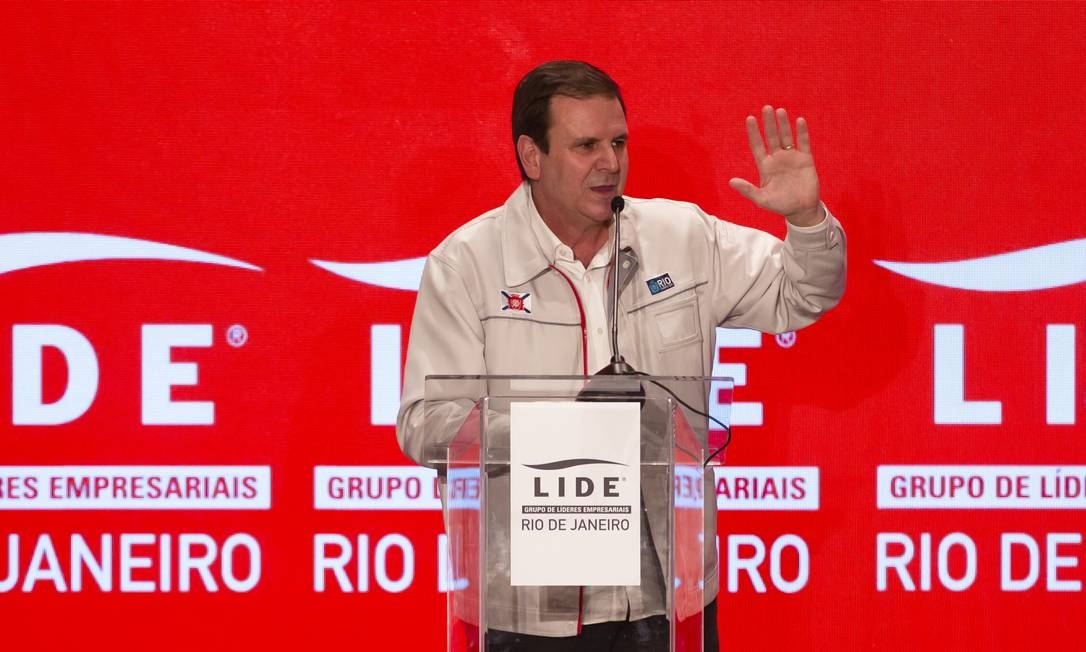 Eduardo Paes durante evento realizado nesta quarta-feira Foto: Leo Martins / Agência O Globo