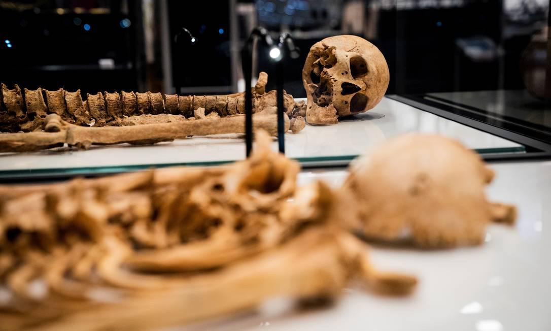 Esqueletos da era viking no Museu Nacional da Dinamarca Foto: RITZAU SCANPIX / via REUTERS