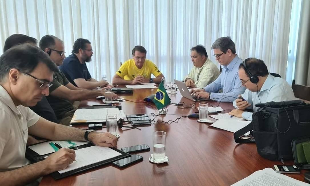 Jair Bolsonaro em reunião com o primeiro-Ministro da Índia, Narendra Modi Foto: Reprodução