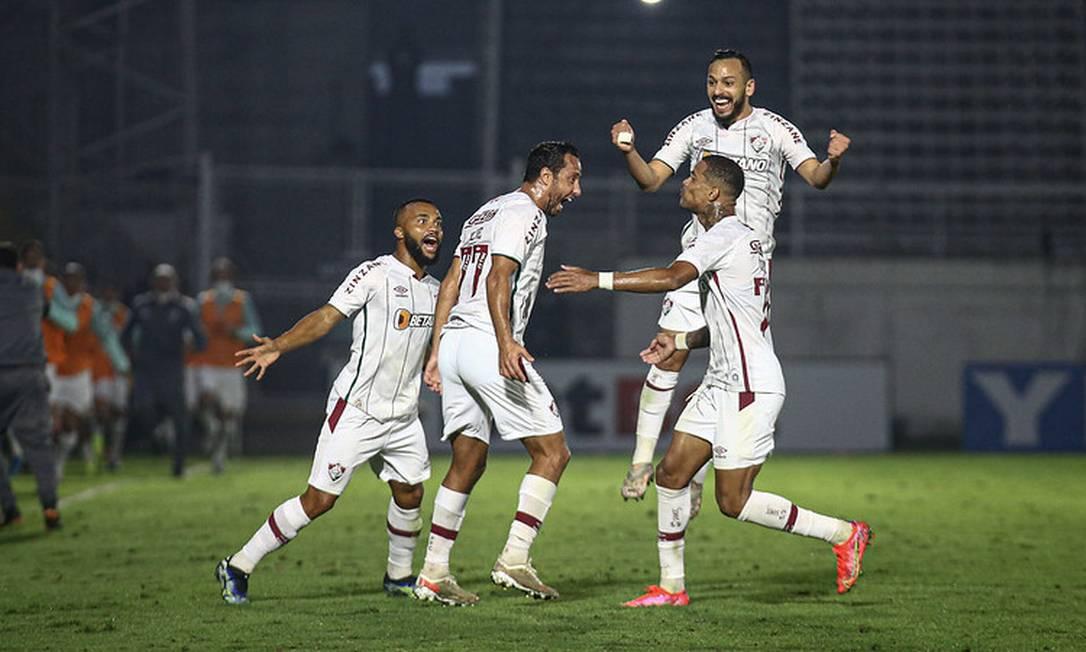 Nenê comemora o gol que garantiu o Fluminense nas oitavas da Copa do Brasil Foto: Lucas Mercon / Fluminense
