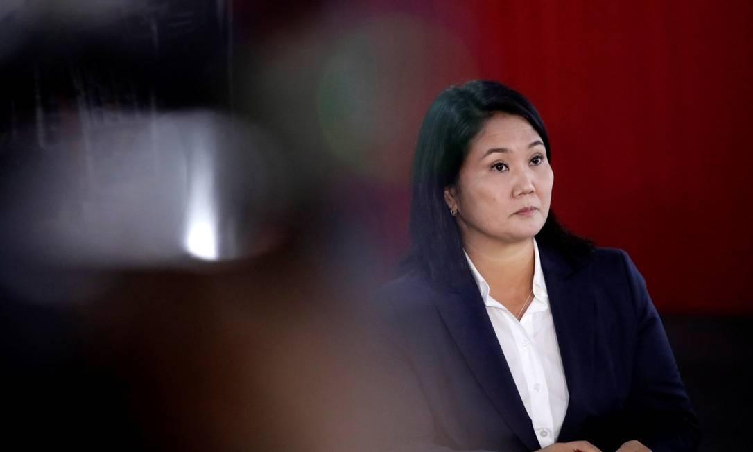 Candidata à Presidência do Peru, Keiko Fujimori, durante discurso à imprensa Foto: ANGELA PONCE / REUTERS/9-6-21