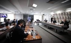 Senadores em sessão na CPI da Covid Foto: Pablo Jacob/Agência O Globo