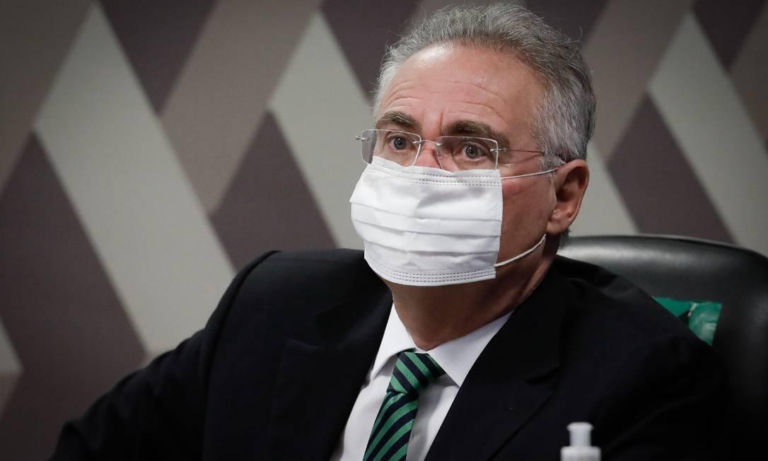 Renan Calheiros na CPI da Covid Foto: Pablo Jacob/ Agência O Globo