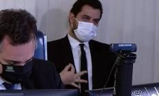 Gesto feito por Filipe Martins durante discurso do presidente do Senado, Rodrigo Pacheco Foto: Reprodução/ TV Senado