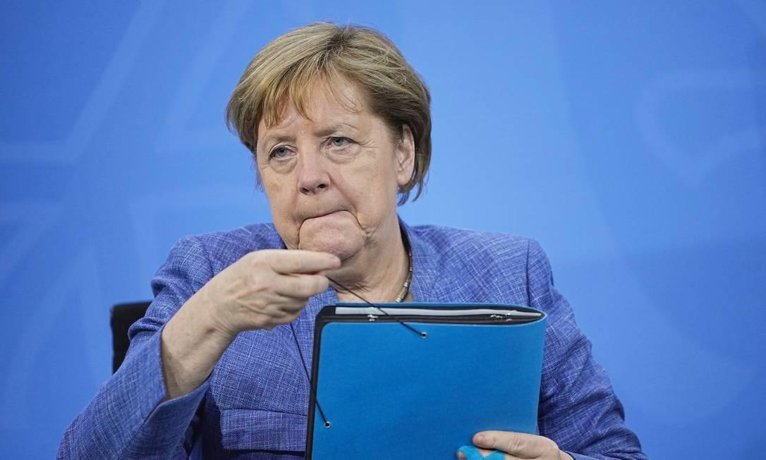 A chanceler alemã Angela Merkel em Berlim em 10 de junho de 2021 Foto: Michael Kappeler / Reuters