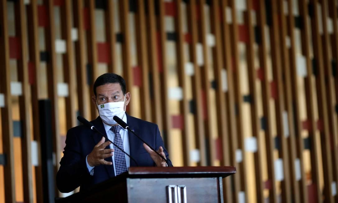 O vice-presidente Hamilton Mourão participa de entrevista coletiva no Itamaraty Foto: Ueslei Marcelino/Reuters/26-05-2021