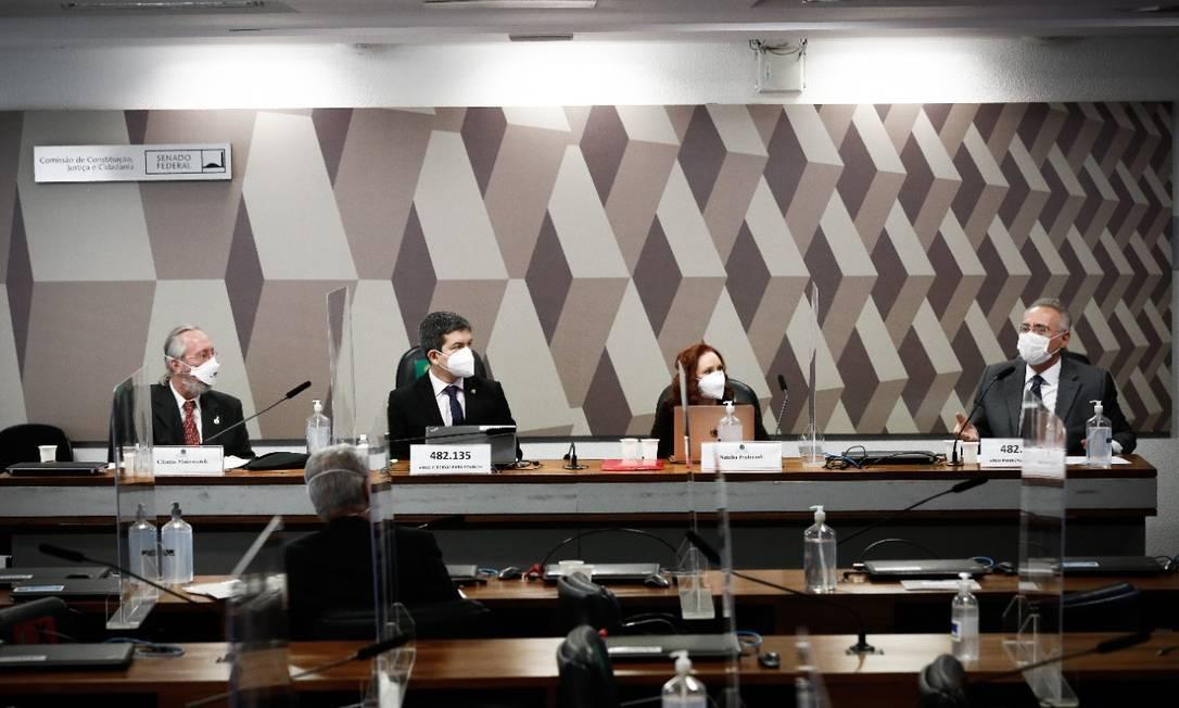 Natalia Pasternak e Cláudio Maierovitch são ouvidos na CPI da Covid Foto: Pablo Jacob/Agência O Globo