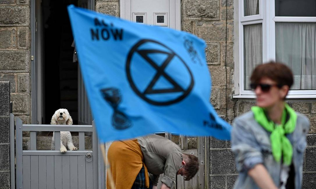 Cachorro interage com marcha de protesto contra a mudança climática em Cornualha, sudoeste da Inglaterra, região onde líderes do G7 (Canadá, França, Alemanha, Itália, Japão, Reino Unido e Estados Unidos) se encontram neste fim de semana pela primeira vez em quase dois anos, para as negociações de três dias em Carbis Bay, Cornwall Foto: BEN STANSALL / AFP