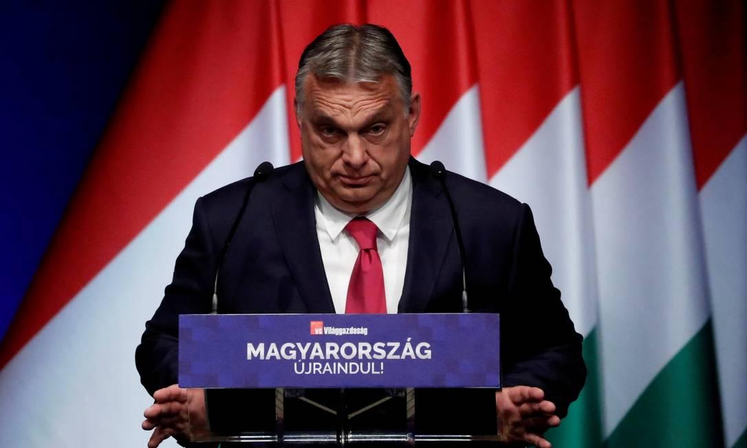 Primeiro-ministro húngaro, Viktor Orbán, durante conferência em Budapeste Foto: BERNADETT SZABO / REUTERS