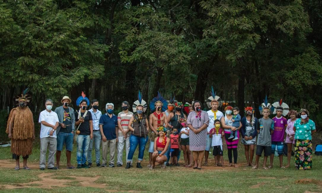 Grupo indígena na Mata do Japonês, em São Joaquim de Bicas Foto: Isis Medeiros / Divulgação