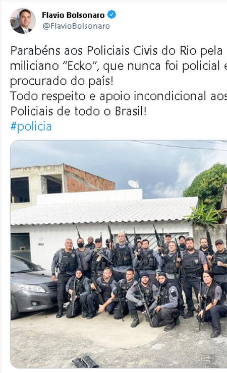 Post do senador Flávio Bolsonaro após operação policial no Rio que resultou na morte do miliciano Ecko Foto: Reprodução