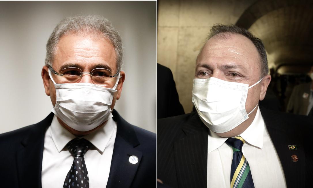 O ministro da Saúde Marcelo Queiroga e o ex-titular da pasta Eduardo Pazuello Foto: Arquivo O GLOBO