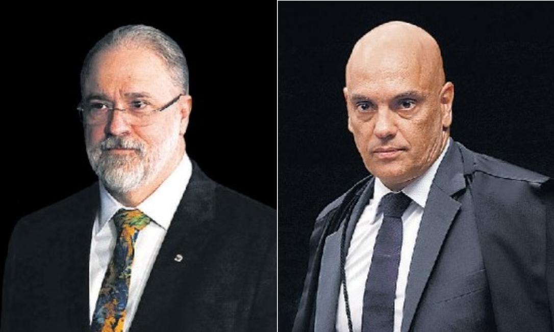 O procurador geral da República, Augusto Aras, e o ministro do STF Alexandre de Moraes Foto: Arquivo O GLOBO