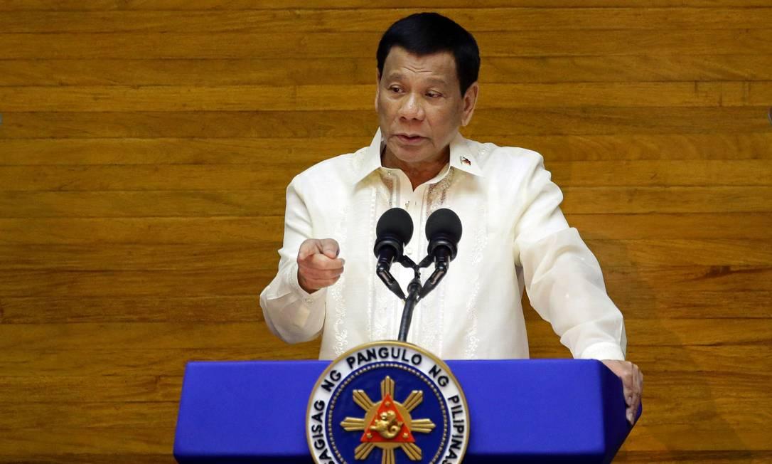 O presidente das Filipinas, Rodrigo Duterte, em pronunciamento no Parlamento filipino Foto: Czar Dancel / Reuters
