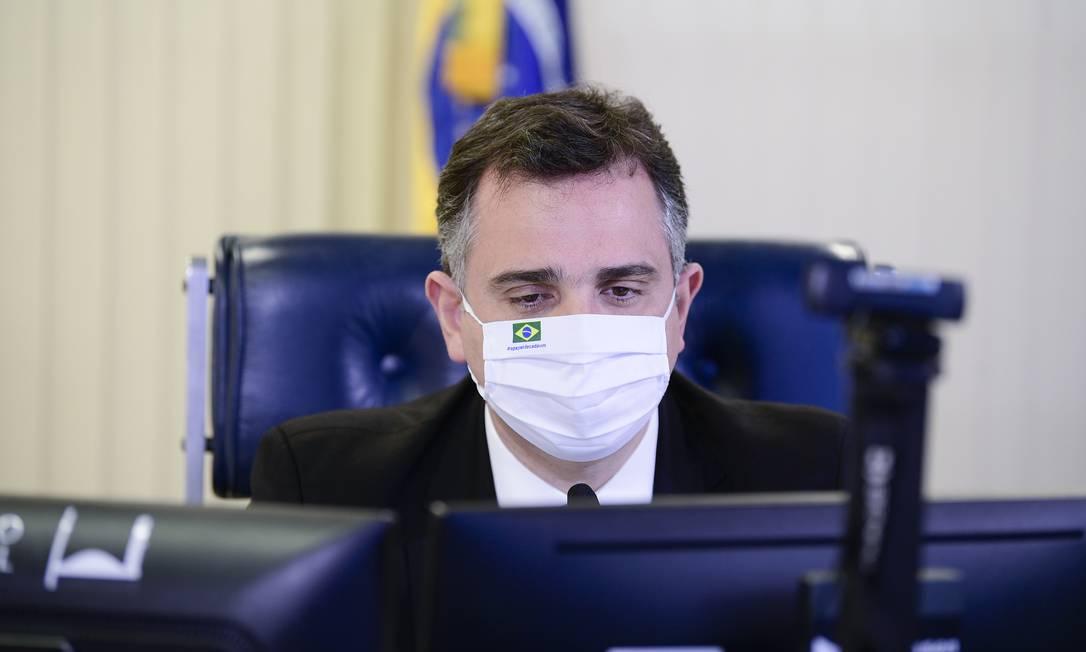 O presidente do Senado, Rodrigo Pacheco (DEM-MG), que quer mudar MP da privatização da Eletrobras Foto: Pedro França / Agência Senado