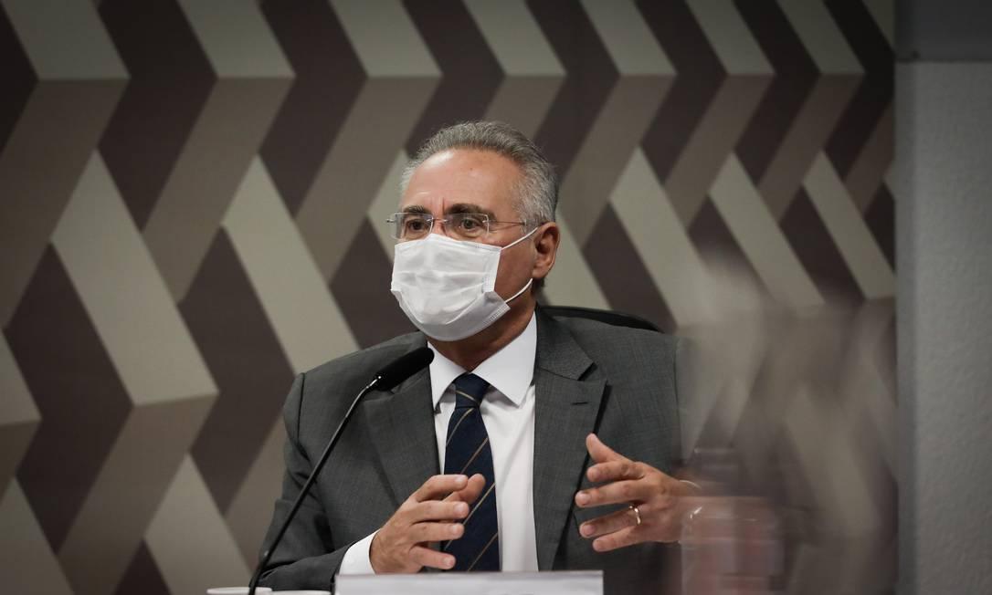 Renan Calheiros na CPI da Covid Foto: Pablo Jacob / Agência O Globo