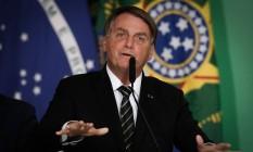 O presidente Jair Bolsonaro discursa em evento no Palácio do Planalto Foto: Pablo Jacob/Agência O Globo/10-06-2021