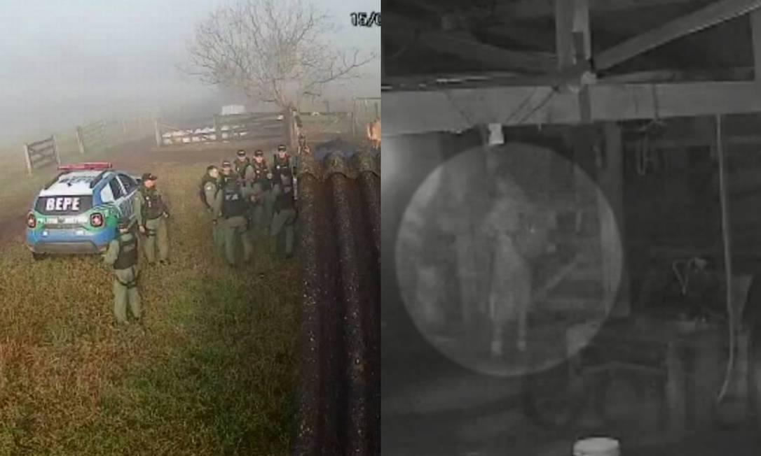 A mobilização policial na fazenda invadida por Lázaro e o suspeito, de mochila Foto: Reprodução / @ceilandiamuitatreta