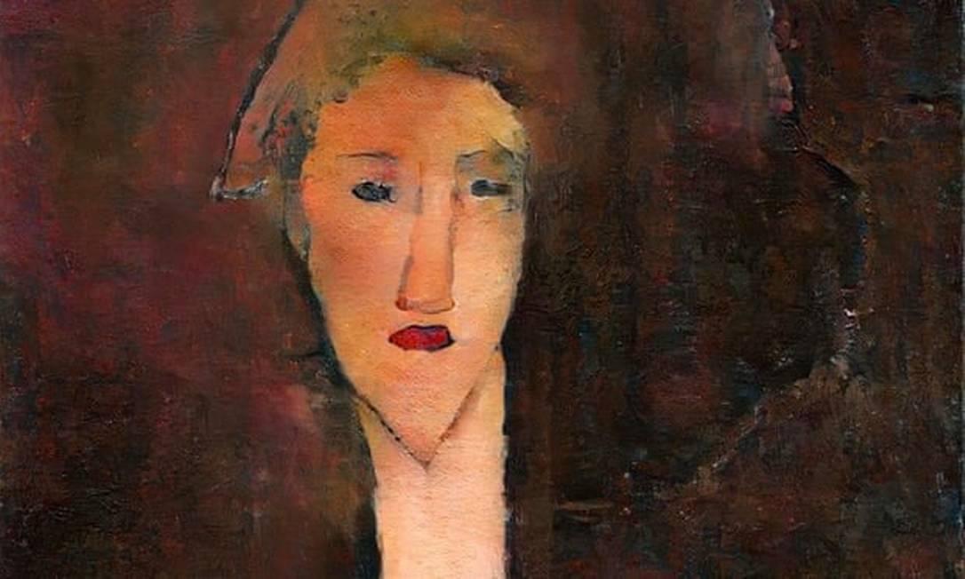 """Pesquisadores encontrataram outro rosto escondido na pintura """"Retrato de uma Jovem Menina"""" (1917), do pintor italiano Modigliani Foto: Divulgação"""