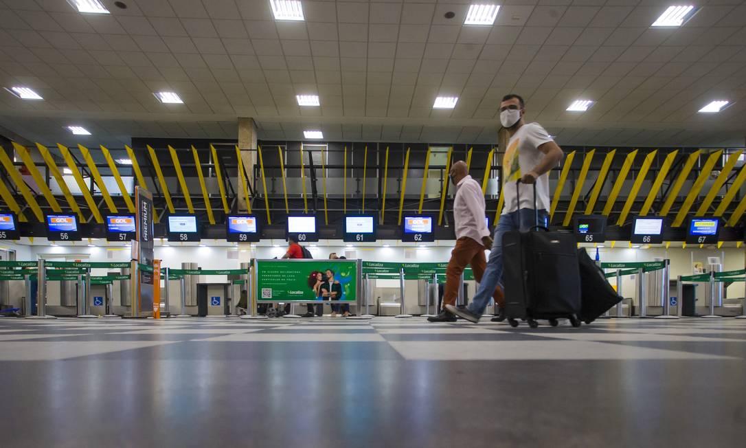 Saguão do Aeroporto de Congonhas, em São Paulo Foto: Edilson Dantas / Agência O Globo (04/12/2020)