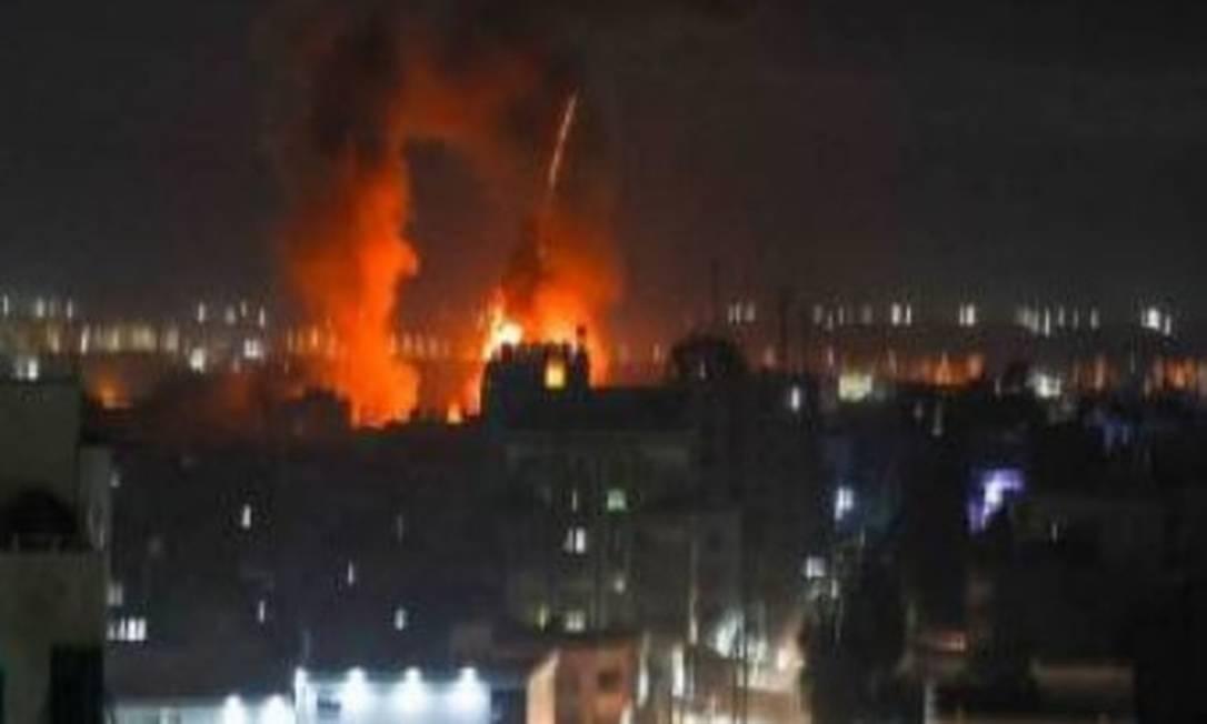 Bombardeio de Israel em Gaza atinge alvos do Hamas Foto: Reprodução de vídeo