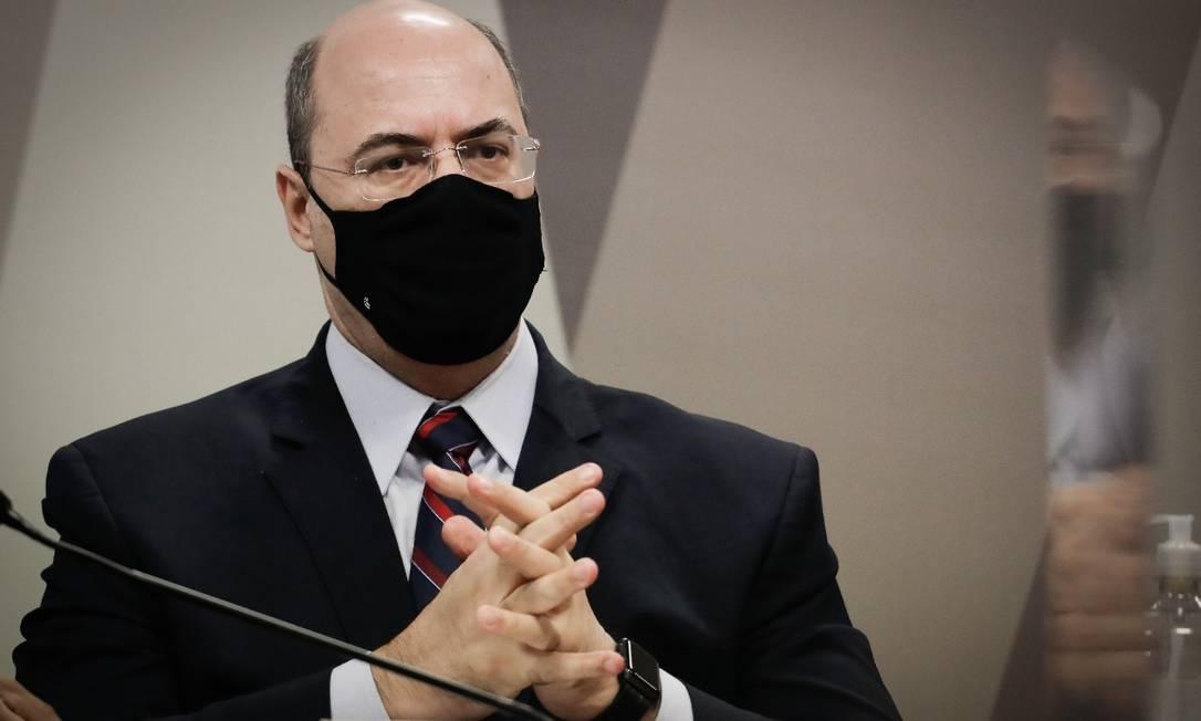 Wilson Witzel depõe à CPI da Covid Foto: Pablo Jacob/Agência O Globo