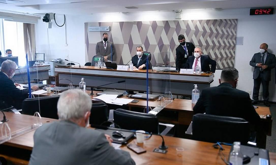 Senadores em sessão da CPI da Covid Foto: Edilson Rodrigues/Agência Senado