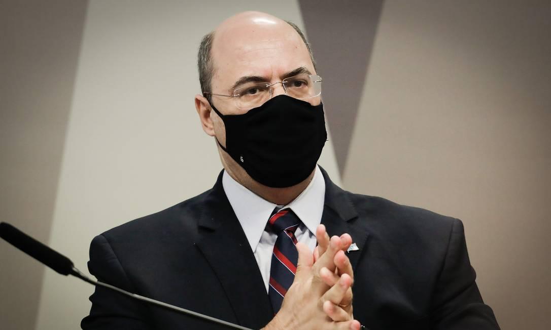 O ex-governador Wilson Witzel presta depoimento à CPI da Covid Foto: PABLO JACOB / Agência O Globo