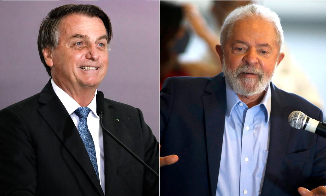 O presidente Jair Bolsonaro e o ex-presidente Luiz Inácio Lula da Silva Foto: Arquivo O GLOBO