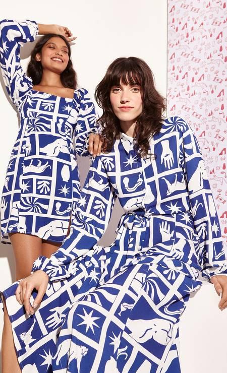 Seus quadros blocados em azul-cobalto também foram para as roupas Foto: Divulgação