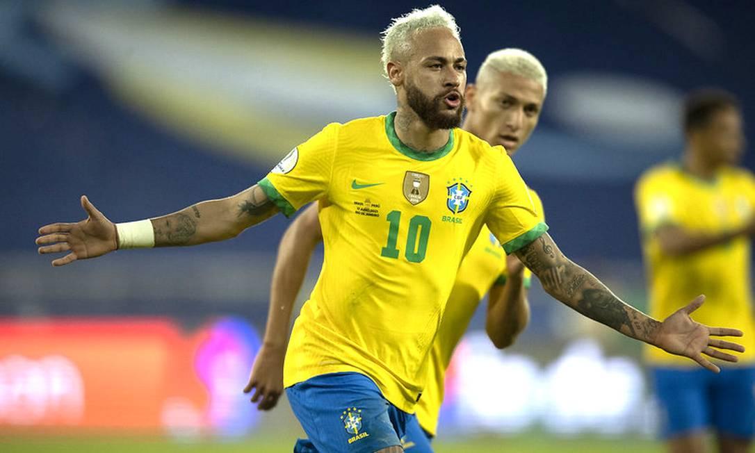 Neymar comemora gol Foto: Lucas Figueiredo/CBF / Lucas Figueiredo/CBF