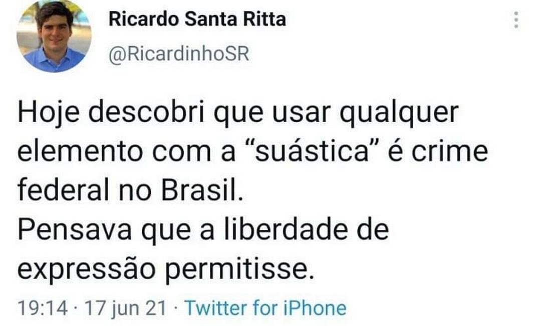 Ricardo Santa Ritta causou polêmica com post sobre suástica Foto: Reprodução/Twitter