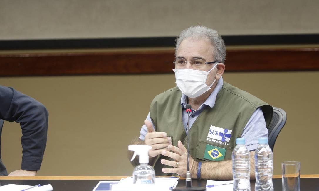 Ministro da Saúde, Marcelo Queiroga, realiza coletiva de imprensa com o prefeito do Rio, Eduardo Paes Foto: Fabio Rossi / Agência O Globo