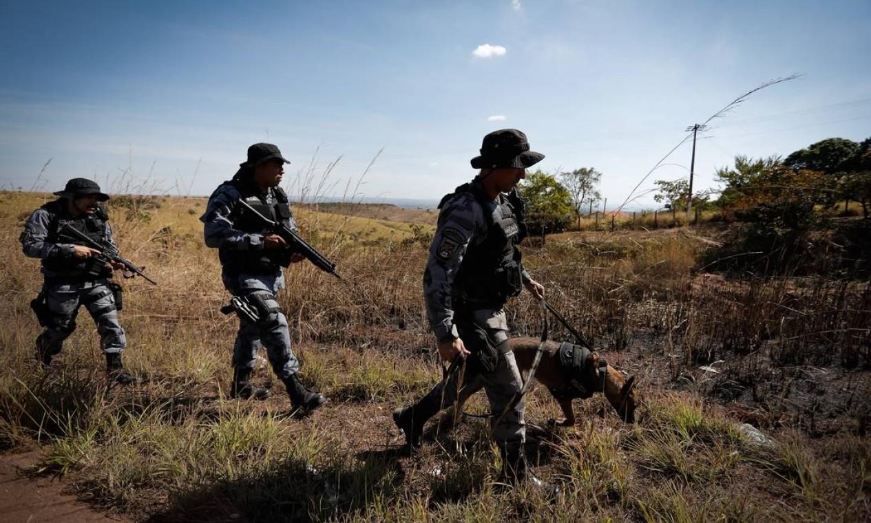 Policiais buscam assassino com apoio de cães farejadores Foto: PABLO JACOB / Agência O Globo