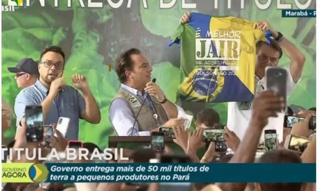 Imagem de Bolsonaro em evento que consta na decisão judicial Foto: TV Brasil / Reprodução