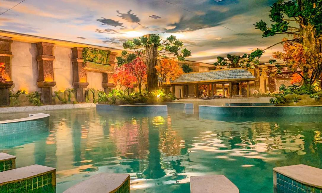 Desenho mostra como será uma das piscinas naturalmente aquecidas do Acquamotion, parque temático que será inaugurado em 25 de junho em Gramado Foto: Divulgação