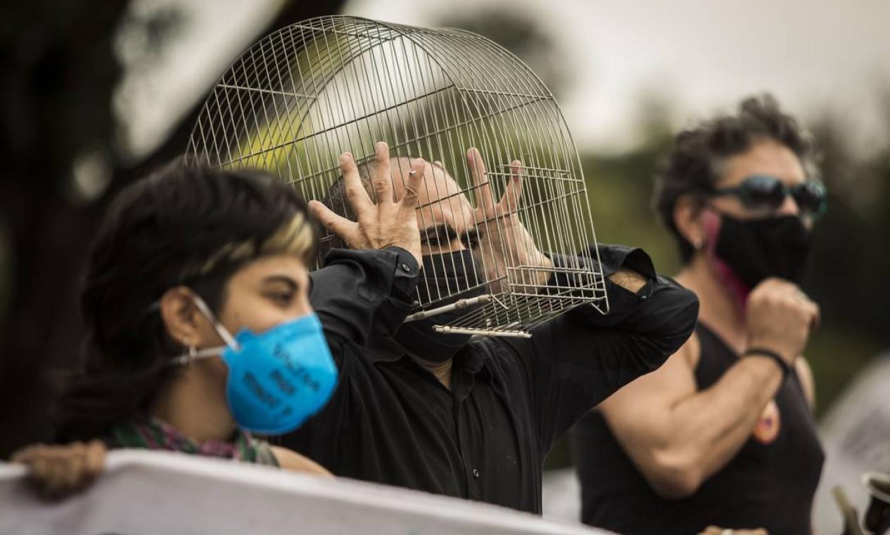 Ato contra o governo Bolsonaro no Rio de Janeiro Foto: Guito Moreto / Agência O Globo