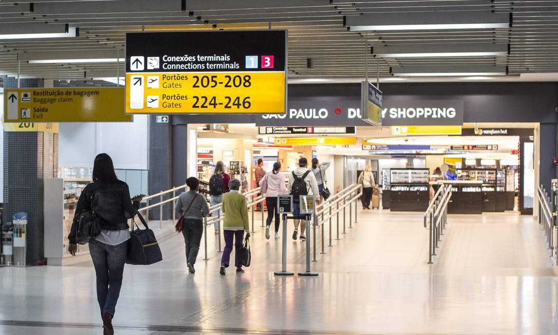 EC São Paulo ( SP ) Aeroporto Internacional de São Paulo / Guarulhos - Governador André Franco Montoro ( GRU ) . Foto Edilson Dantas / Agencia O Globo Foto: Edilson Dantas / Agência O Globo