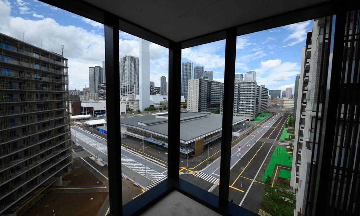 Mais um ângulo da vila olímpica dos Jogos de Tóquio Foto: AKIO KON / AFP