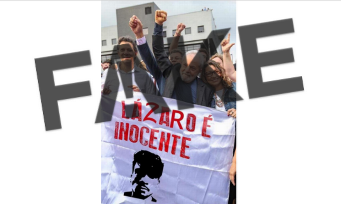 Lula, Janja e Haddad segurando faixa com frase digitalmente modificada. A faixa como aparece na imagem é #FAKE Foto: Reprodução