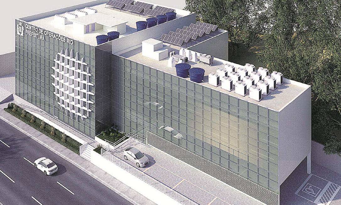 """Como ficará o novo Centro de Operações da Prefeitura: será construído um prédio anexo em formato de """"L"""", onde hoje é um estacionamento Foto: Prefeitura / Divulgação"""
