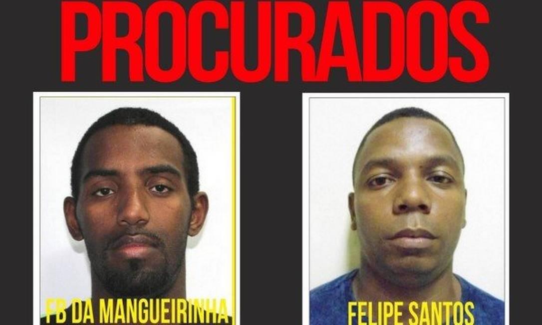 Os dois integrantes da quadrilha que estão foragidos Foto: Divulgação