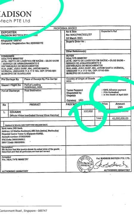 Recibo apresentado para a importação da vacina Covaxin. Empresa, quantidade de doses e pagamento antecipado divergiam do contrato Foto: Reprodução