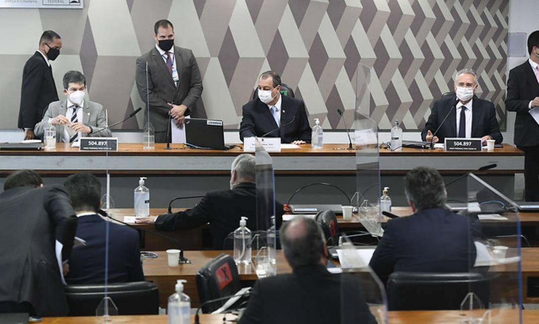 Senadores em sessão na CPI da Covid Foto: Jefferson Rudy / Jefferson Rudy/Agência Senado
